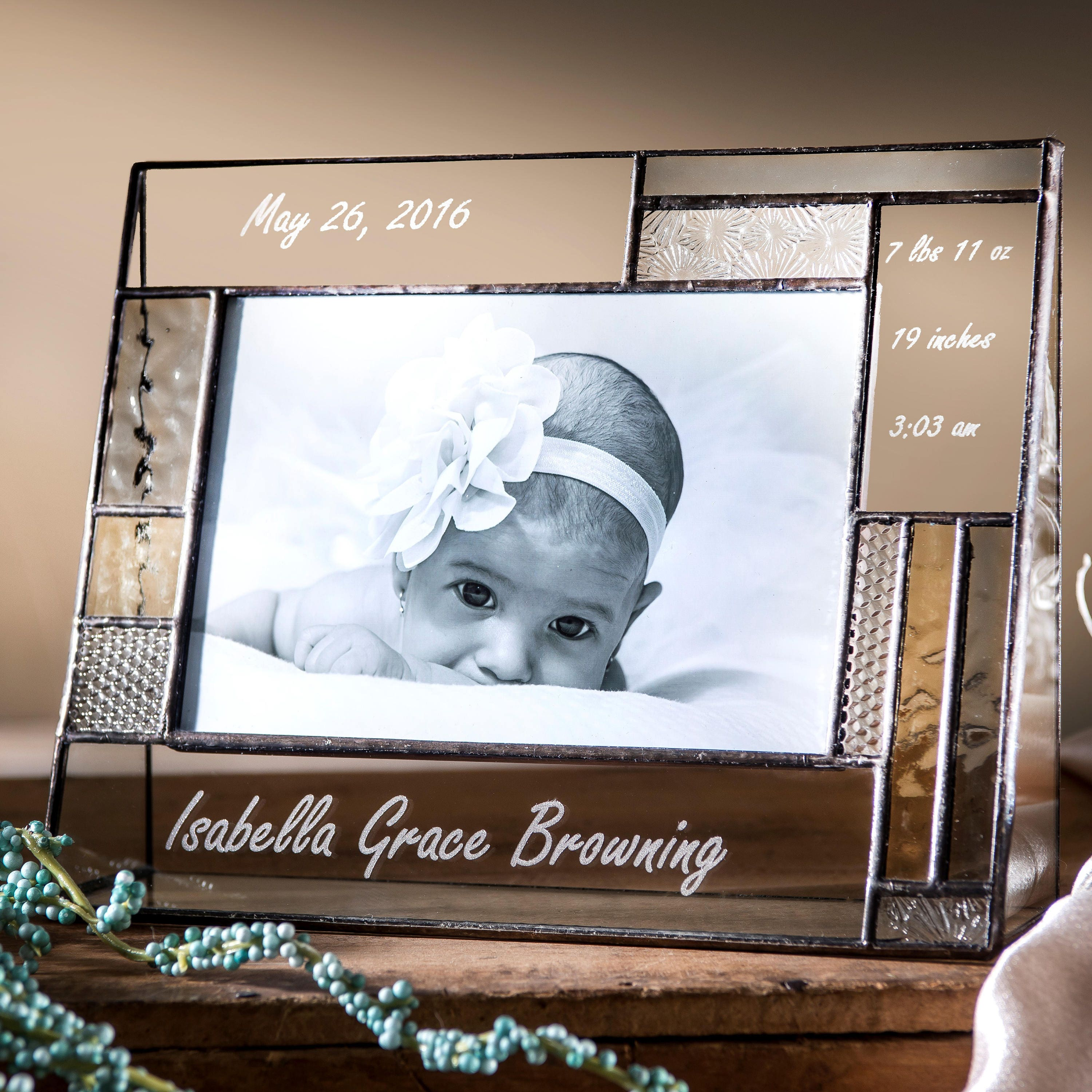 Personalized Baby Picture Frame Engraved Stained Glass Photo | Etsy