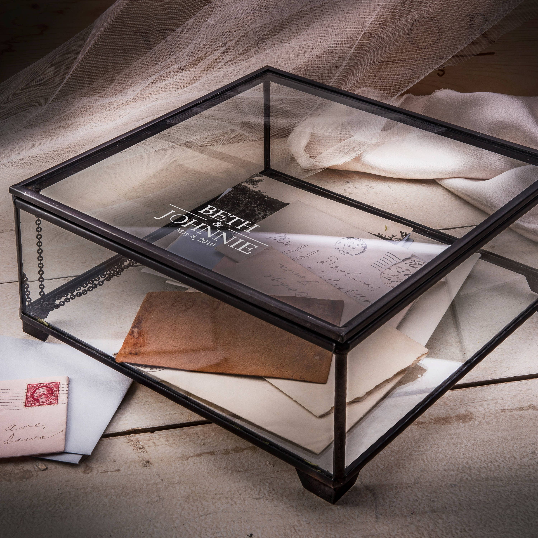 Glass Wedding Card Box Personalized Wedding Keepsake Box
