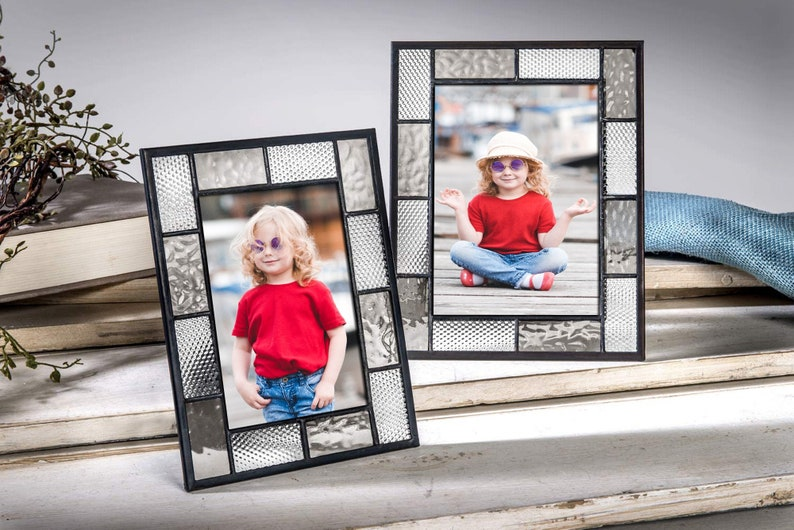 Gray Picture Frame 4x6 5x7 Stained Glass Tabletop Photo Frame Etsy