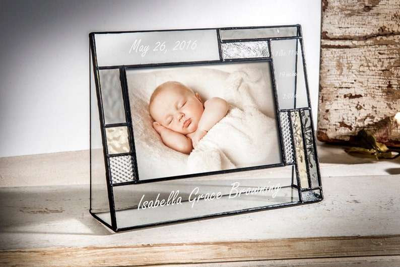 Personalized Baby Picture Frame Engraved Stained Glass Photo Frame Keepsake Gift New Baby Christening Baptism 4x6 Horizontal Pic392-46HEP530