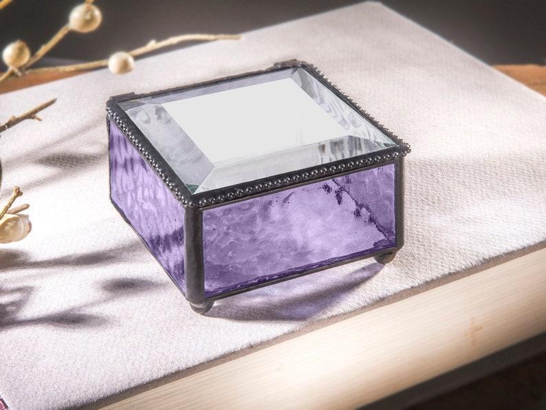 Glass Box Purple Jewelry Box Decorative Keepsake Gift for Her Girl Women Lavender Home Decor Dresser Vanity Trinket Box 899