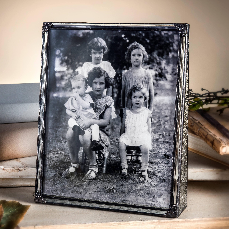 vintage en verre photo cadre 8 x 10 verticale portrait. Black Bedroom Furniture Sets. Home Design Ideas