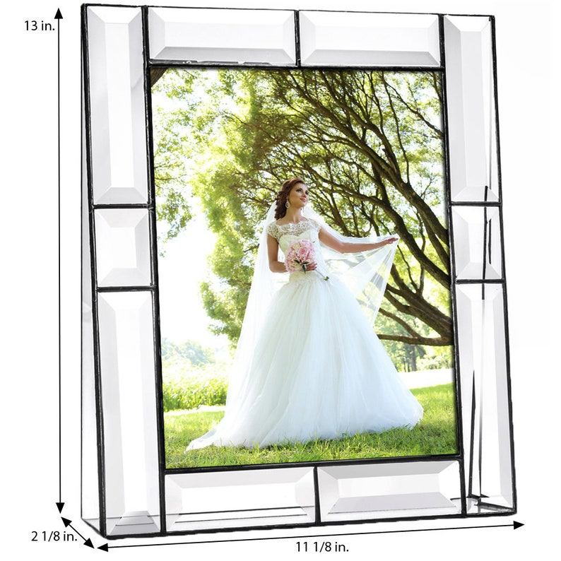 8x10 and 3x3 Crystal Photo Frame Wedding Anniversary Family Gift for Mom Pic 112 Series 5x7 Beveled Glass Picture Frame Available in 4x6