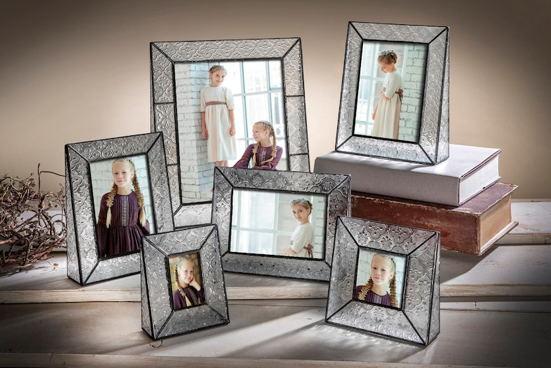 5x7 Wedding Picture Frame Vintage Home Decor Stained Glass Photo Frame Gift for Anniversary Birthday Baby Bridesmaid Pic 126-57V