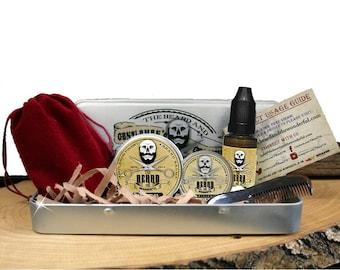 The Beard & The Wonderful Premium Gift Box 6 Piece, 15ml Moustache Wax, 15ml Beard Oil, 30ml Balm, Comb, Bag, presented in a Gift Tin