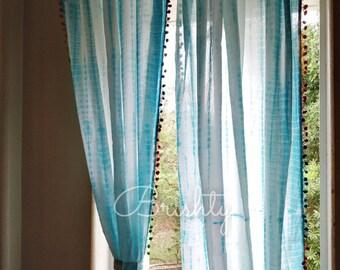TWO PANELS Turquoise Tie Dye Shibori Curtain Panels With Lace Border Bohemian Curtains Boho Decor Beach Pompom