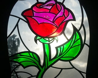 Stained Glass Rose Etsy