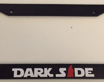 Amazing DarkSide With Darth Vader   Black With Red Combo License Plate Frame   Love  Dark Side