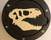 T-REX in 3D - Black with White Jeep Wrangler JK/JKU flag Gas Cap Cover - tyrannosaurus