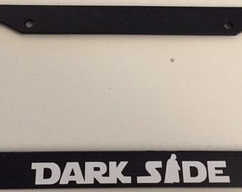 DarkSide With Darth Vader   Black License Plate Frame   Love Dark Side