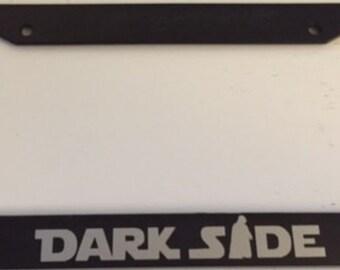 DarkSide With Darth Vader   Black With Grey License Plate Frame   Love Dark  Side