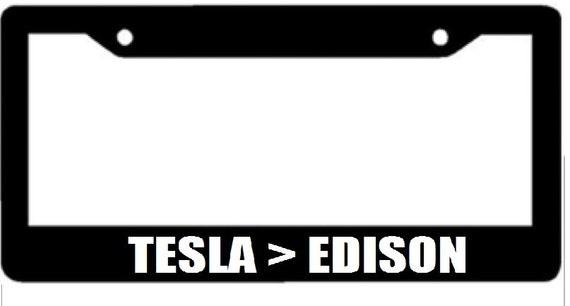 Tesla Edison Black License Plate Frame Electric Car | Etsy