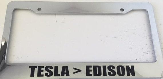 Tesla Edison Chrome License Plate Frame Electric Car | Etsy