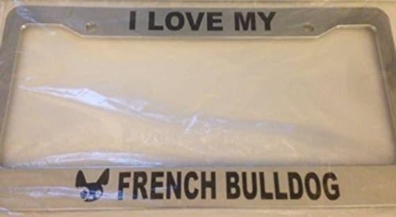 I Heart My French Bulldog Dog Chrome License Plate Frame