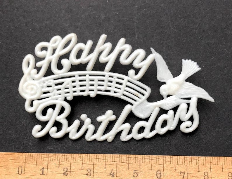 3 Vintage Musical Bird HAPPY BIRTHDAY Cake Toppers