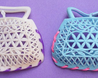 3 Gloriously Kitsch Vintage 9cm wide Plastic Bags/Purses - Endlessly useful...