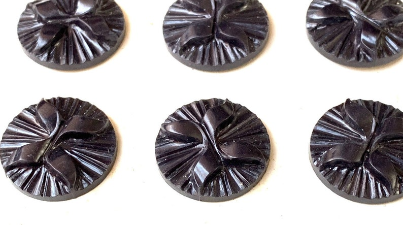 12 Vintage 1940s Bakelite 1.8cm Black VERY Deco buttons  Made in England