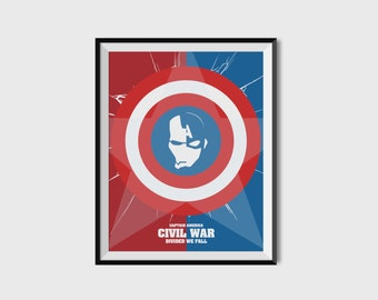 Captain America Civil War Print - Iron Man, Minimalist, Marvel Comics, Comic Print, Avengers, Superhero Wall Art