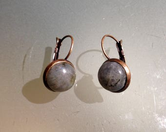 Copper stud earrings and Labradorite