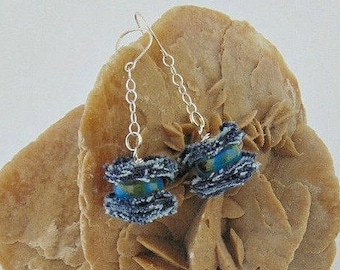 Denim earrings, denim jewelry, upcycled denim, collection denim, denim, jeans earrings, jeans jewelry, long earrings, ceramic earrings