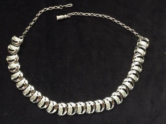 Silver tone half moon necklace