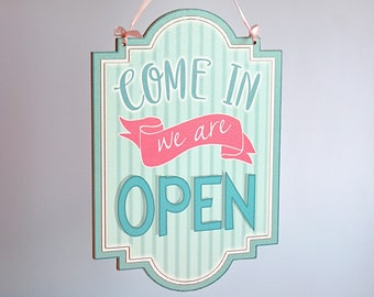 64bec3a32cc OPEN CLOSED shop sign - double sided store informational hanging wooden sign  plaque (Vintage Candy Shop)