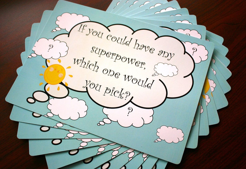 12.3\u2033 x 8.7\u2033 Set of 10 Table Mats laminated /'Fun Questions/' for Kids Great addition to any Party!