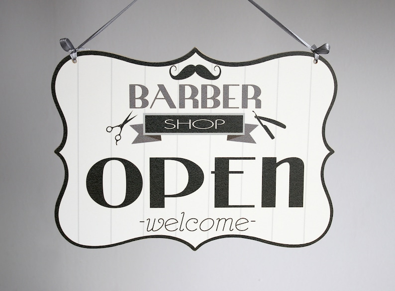double sided BARBER shop door hanging wood sign vintage B/&W OPEN//CLOSED