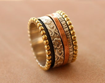 Three Tone Spinning ring, Meditation ring, statement ring, Spinner Ring US-6,7,8,9,10,11,12 Jewelry, free express shipping