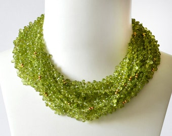 Top Drill Peridot and Gold Necklace
