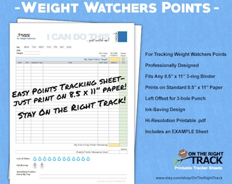 photo about Weight Watchers Smart Points Tracker Printable named Pounds watchers Etsy