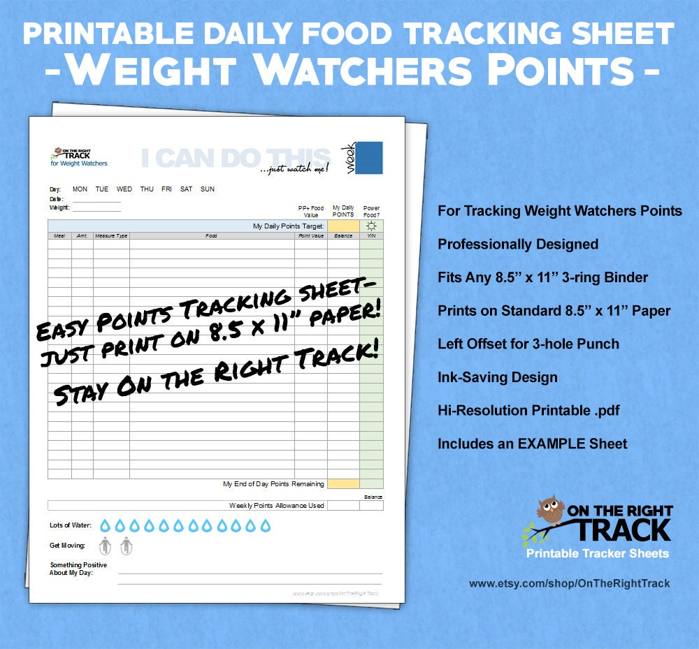 daily food tracking sheet for weight watchers points