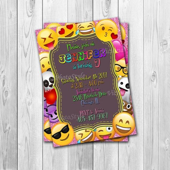 emoji birthday invitations emoji invitation emoji birthday etsy