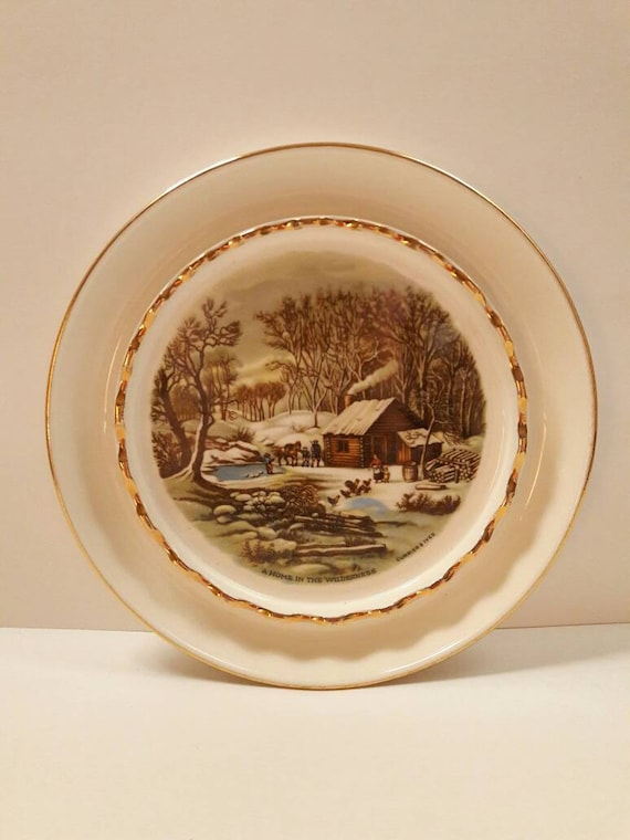 Vintage Harkerware Currier & Ives A Home in the   Etsy