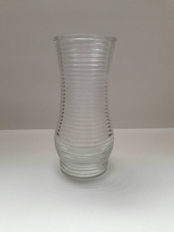 Vintage Cfg Clear Horizontal Ribbed Bouquet Vasehome