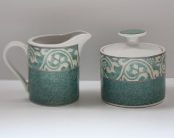 Vintage Creamer Pitcher and Sugar Bowl Set by Misono with Pavillion Pattern #4856, Scroll Pattern, Green and Tan