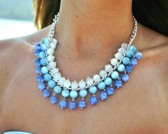 FREE SHIPPING! Blue Necklace ~ Beaded Necklace ~ Cat's Eye Necklace ~ Summer Jewelry ~ Gemstone Necklace