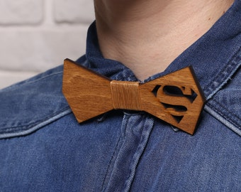 Mens Wood Bow Tie Superman Wooden Bowtie for Men Personalized Bow Ties/Mens Tie Gifts for Him Husband/Groomsmen Gift/Personalized Mens Gifts