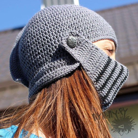 Gehäkelte Mütze Helm stricken Ritterhelm gestrickte Mütze | Etsy