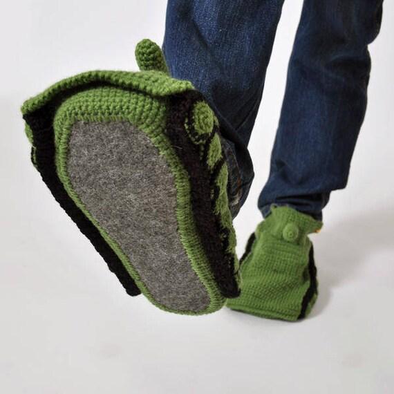 Slippers Crochet Tank Slipper Knitted Tank Slippers Green Etsy