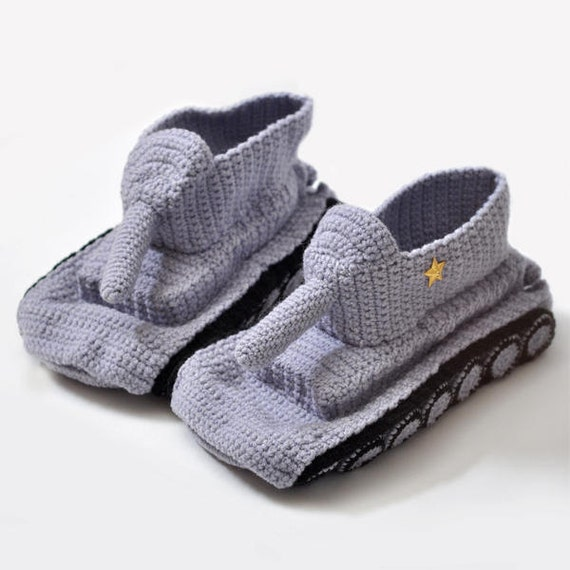 Slippers Crochet Tank Slippers Grey Hand Knit Slipper Handmade Shoes Tank Shoes for home Uniqe Shoes Gift for him Mens gift Boyfriend Gift