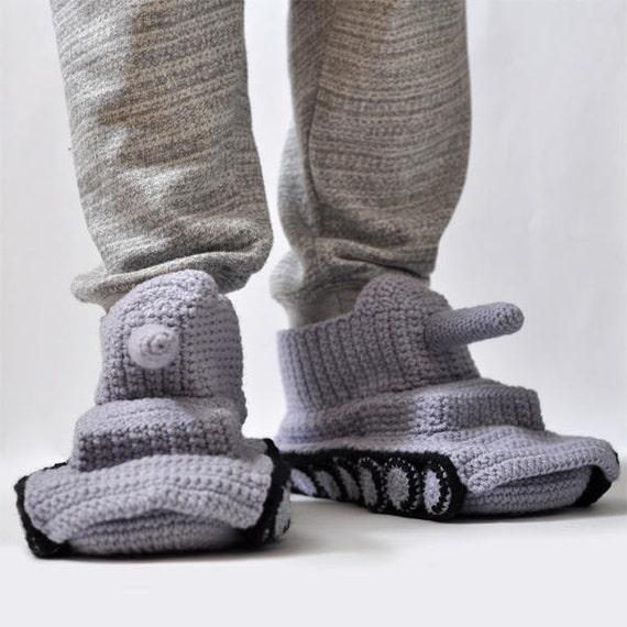 Slippers Crochet Tank Slippers Grey Hand Knit Slipper Handmade Etsy