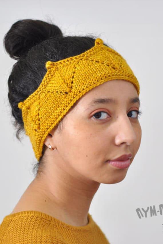 Häkeln Sie Krone Stirnband gestrickt Ohrwärmer in gold   Etsy