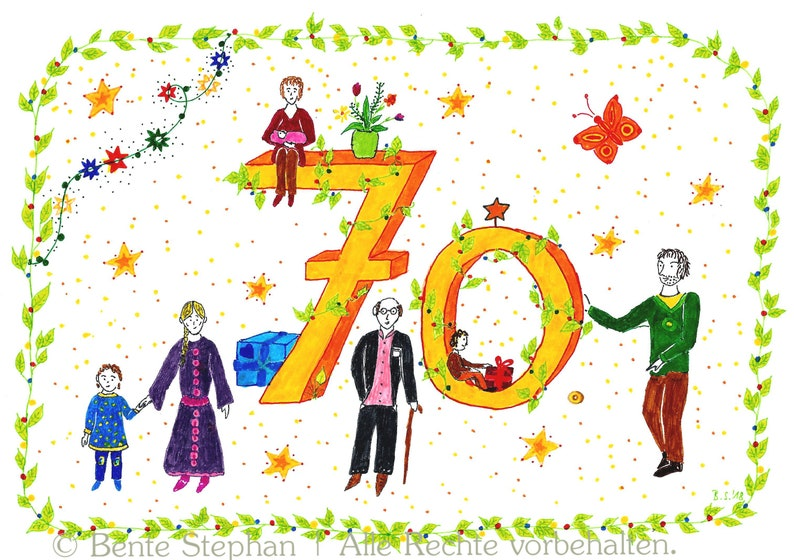 Card A6 70th Birthday Birthday Card 70th Etsy
