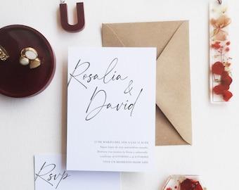Wedding invitation with minimal style - custom invitation - Minimal invitation - Minimal stationery - boho wedding - timeless style