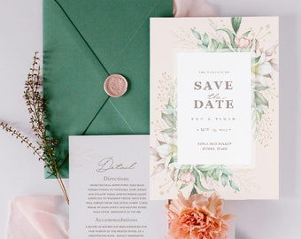 Floral Style Wedding Invitation - Personalized Invitation - Pink and Green wedding - Elegant Stationery - Romantic Style