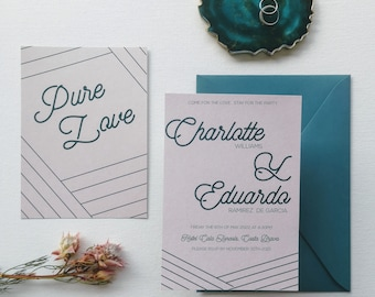 Bohochic style wedding invitation - Personalized invitation - Coral invitation - Bohochic stationery - Boho wedding - Bohemian style