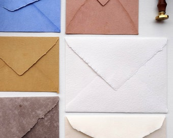Envelopes mixed Earth-colored Cotton Rag, handmade envelopes, different size, C4 - C6 -  DL, differents colors