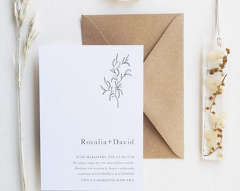 Wedding invitation with minimal style with dried flowers - Minimal invitation - Minimal stationery - boho wedding - timeless style