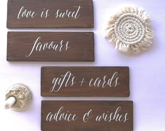 Carteles de madera personalizados para tus rincones de boda, decoración de boda, mesa dulce, mesa de regalos, señalización para tu boda